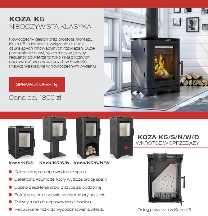 Nowość Koza K5 Stal Noga Wnęka Kominki Kratki.pl KominkiGP Kraków